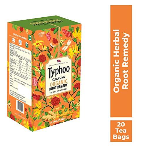 Typhoo Cleansing Organic Root Remedy Tea with Turmeric Ginseng Cinnamon Ginger, 20 Tea Bags, 30 g