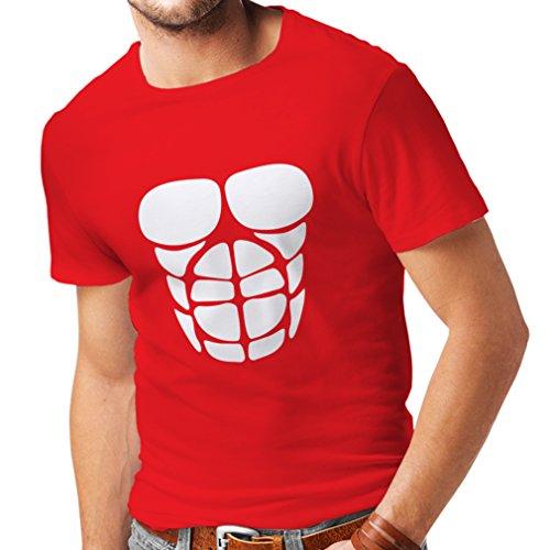 lepni.me Männer T-Shirt Für Ihr Muskelwachstum - lustige Trainingshemden (Medium Rot Weiß)