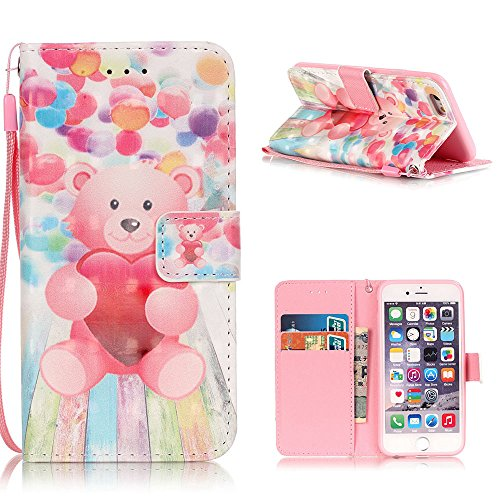 "MOONCASE iPhone 6S Plus Coque, Creative 3D motif Case Portefeuille Housse en Cuir Etui à rabat avec Béquille pour iPhone 6 Plus / 6S Plus 5.5"" -Or Papillon Balloon Bear"