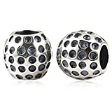 YiRong Jewelry 925Sterling-Silber, Charm-Armband mit Anhänger für Pandora-Armband Golf Ball