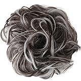 PRETTYSHOP XXL Postiche Cheveux En Caoutchouc Chouchou Chignons VOLUMINEUX Bouclés Ou Chignon Décoiffé mélange gris brun # 10H1001B G25E
