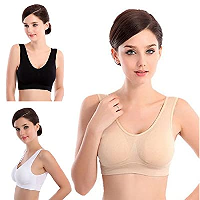 Lifecolor 3-Packs Women's Seamless Wire Free Sports Bra Yoga Bra with Removable Pads