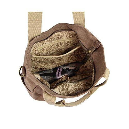 OBC Damen Canvas Tasche Handtasche Henkeltasche Schultertasche Shopper Umhängetasche CrossOver Stofftasche City Bag Street Beuteltasche Blau Braun