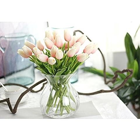 10PCS Künstliche Real Touch Tulip Blumen für Zuhause Garten Hochzeit Bouquet Dekoration und Valentinstag Geburtstag Weihnachten Geschenk hellrosa