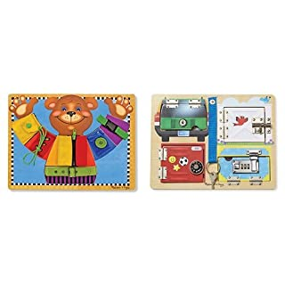 Melissa & Doug Basic Skills Board & Lock and Latch Board Bundle