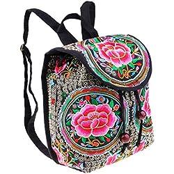 Homyl Mochila Étnica Bolsa de Bordado de Mujer Diseño Precioso de Flores Llamativos Estilo Nacional Artesanía Manual - 4, L
