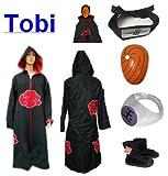 Cosplay Naruto Akatsuki Ninja traje de cosplay Tobi Set - Capa con capucha (L: Tamaño 169cm-176cm) +Tobi diadema + ninjas Tobi máscara + Tobi anillo + zapatos