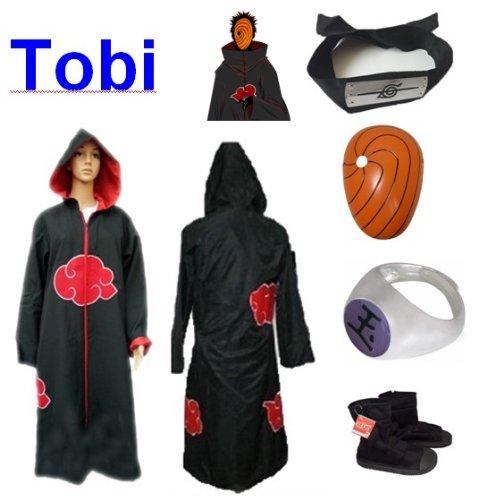Sunkee Japanische Anime Naruto Cosplay Für Tobi Set -- Akatsuki Ninja Kapuzenumhang Mantel,Größe(L: Höhe 169cm-176cm) +Tobi Maske +Tobi Ring+Tobi Stirnband+Ninja - Tobi Maske Kostüm