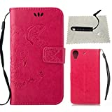 TOCASO Rose Schutzhülle für HTC Desire 626G Hülle Leder Tasche Flip Wallet Case [/] Handyhüllen Portable Anti-Scratch ID Card Slot Soft Silikon Back Tasche n r Schutzhüllen für HTC Desire 626G
