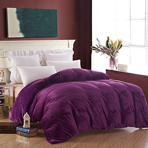 HUIYUE Flanell Bettbezüge,1 stück-Set Bettbezug,Einzelstück Doppelzimmer Velvet Winter Warme Bettbezug-M 200x230cm(79x91inch) - Solide Tröster Set