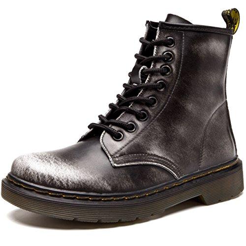 JACKSHIBO Damen Herren Klassischer Leder Knöchel Stiefel Boots Winter Warme Gefüttert Stiefeletten Schneestiefel,Plus Baumwolle,Grau,EU 39