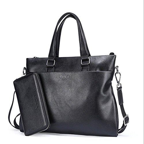 Männer Echte Leder-Business-Brieftasche Messenger Laptop Attache Bag Echte Leder-Aktentasche Für Frauen Männer Slim Business Messenger Leder Briefcase Schulter Laptop Business Bag Für Männer,Black -