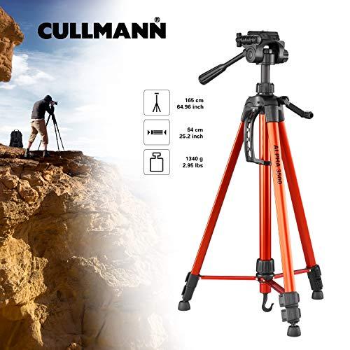 Cullmann ALPHA 3500 Stativ orange mit 3-Wege-Kopf (165 cm Auszugshöhe, Gewicht 1277g, Tragfähigkeit 2,5 kg, Packmaß 67cm)