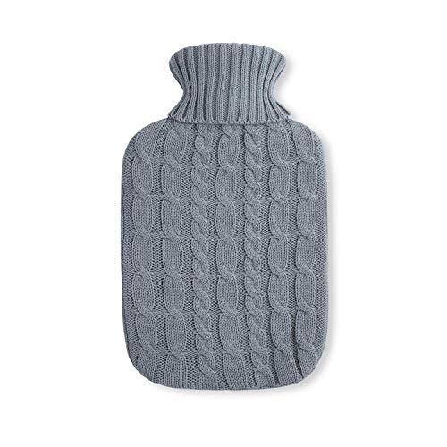 Umoi - Borsa dell'acqua calda ecologica, in gomma naturale, 2 litri, con rivestimento in maglia pregiata, modello 2020