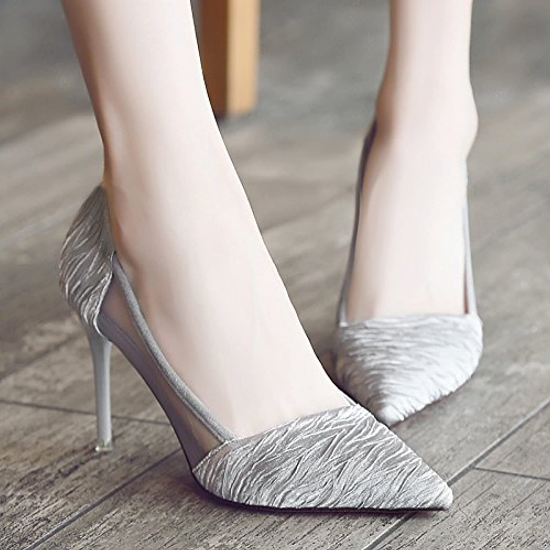 Xue Qiqi tacco tacco tacco alto scarpe donna con punta fine sandali traspirante filato netto scarpe donna nero selvaggio incontro...   Alla Moda  e34039