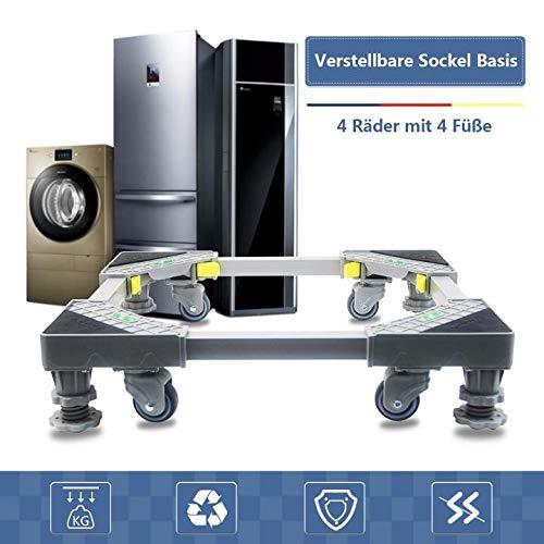 Waschmaschinen Sockel Untergestell Podest Waschmaschinensockel für Waschmaschine Rot mit 4 drehbarem Gummi Räder und 4 Höhenverstellbare Füße Stand Roller Trolley Basis für Trockner und Kühlschrank