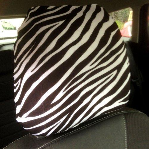Auto Sitz Kopfstützen Bezug 2Pack schwarz und weiß Zebra Print Design Made in Yorkshire