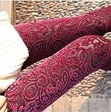 casadeiy Spring New Extravaganz Muster Gold Samt Leggings neun Punkte hohl Spitze Blumen