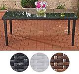 CLP Poly-Rattan Garten-Tisch BONDY, Esstisch 180 x 90 x 75 cm, mit Glasplatte, ideal für 6 Stühle, bis zu 3 Farben wählbar Schwarz