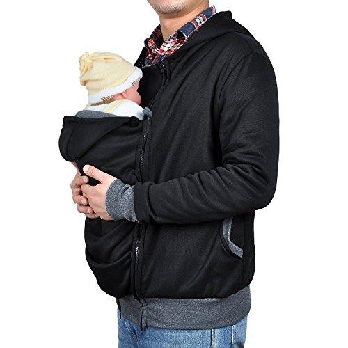 (TUOKING Neugeborene Känguru-Strickjacke-Kleidungs-Vati-Lange Hülsen-warme Reißverschluss-Hülsen-Jacken (XL, Schwarz))