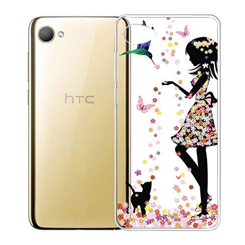 IJIA Hülle für HTC Desire 12 Transparente Marmormuster Natürliche Elfenbein Weiß TPU Weich Silikon Stoßkasten Cover Handyhülle Schutzhülle Handyhüllen Schale Case Tasche für HTC Desire 12 (5.5