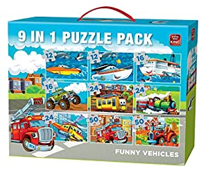 King Funny Vehicles 9in1 Vol 1 Puzzle - Rompecabezas (Puzzle Rompecabezas, Dibujos, Niños, Niño/niña, 3 año(s), Cartón)