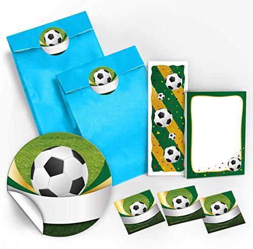 12 Geschenktüten + 12 Aufkleber + 12 Lesezeichen + 12 Mini-Notizblöcke Fußball / Mitgebsel Gastgeschenk für Kinder Jungen Mädchen bei Geburtstag Turnier Fussball