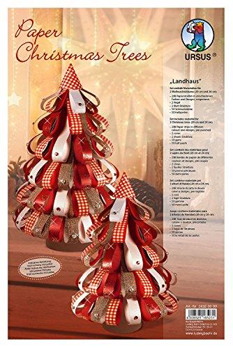 Ursus 24320099 - Designstreifen Paper Christmas Trees Landhaus -