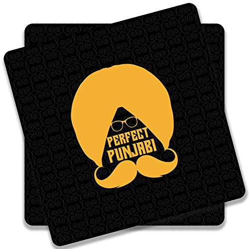 Colorpur Perfect Punjabi Yellow Turban On Black Wooden Square Coaster (Set of...
