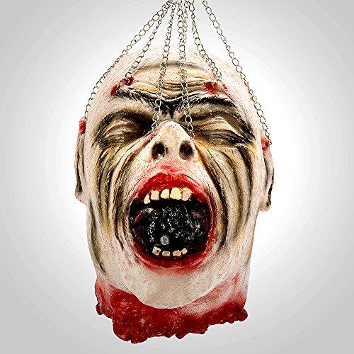 Enjoygoeu Halloween Deko Kopf Horror Zombiekopf Gruselig Abgetrennter Kopf Lebensgroß Abgeschlagener Zombie Gesicht Schädel Henker Höllen Party Dekoration (B) (Lebensgroße Halloween Requisiten)