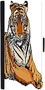 Snoogg Sketch Of White Tiger Vector Illustration Designer Protective Phone Flip Case Cover For Vivo V1