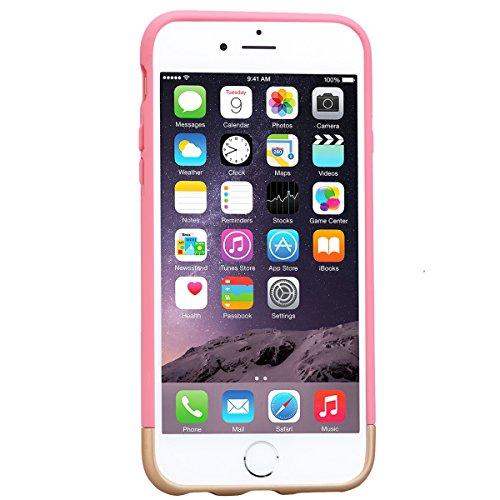 Coque iPhone 6 Plus. Housse iPhone 6S Plus Noir GrandEver Etui 2 pièces Silicone Back Cover Couleur unie Cover Flexible Soft Back Case Rubber Gel coquille Couverture pour Apple iPhone 6 Plus/iPhone 6S Rose