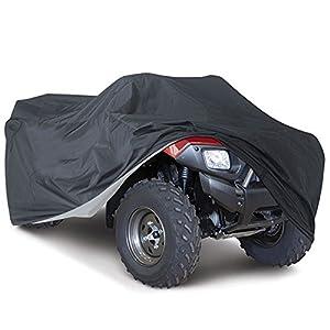 Suntime Quad ATV Abdeckung Aus Reißfestem 190T Gewebe UV Schutz Durable Motorradgarage Lagerung Gegen Winter Schnee Regen Sonne und Staub für Honda Polaris Yamaha Suzuki (Schwarz & XL)