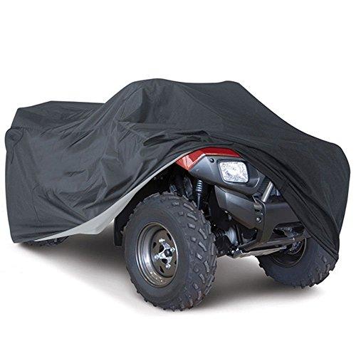 Suntime Quad ATV Abdeckung Aus Reißfestem 190T Gewebe UV Schutz Durable Motorradgarage Lagerung Gegen Winter Schnee Regen Sonne und Staub für Honda Polaris Yamaha Suzuki (Schwarz & XXXL)