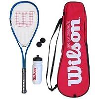 Wilson Kit de Squash Homme/Femme, 1 Raquette, 2 balles, 1 Gourde 1 Sac Les débutants, Starter Squash Kit