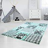 MyShop24h Kinderteppich Hochwertig mit Karo-Muster, Tieren/Hund, Katze, Kuh, Giraffe in Pastell-Türkis mit Konturenschnitt, Glanzgarn für Kinderzimmer, Größe in cm:160 x 230 cm