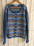 Granny Stitch Crochet Cardigan Blue Green Beige Clothing Knitwear