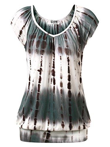 DJT Damen Casual Tunika Kurzarm T-Shirt Falten Tops mit Stretch V-Ausschnitt Koffee L