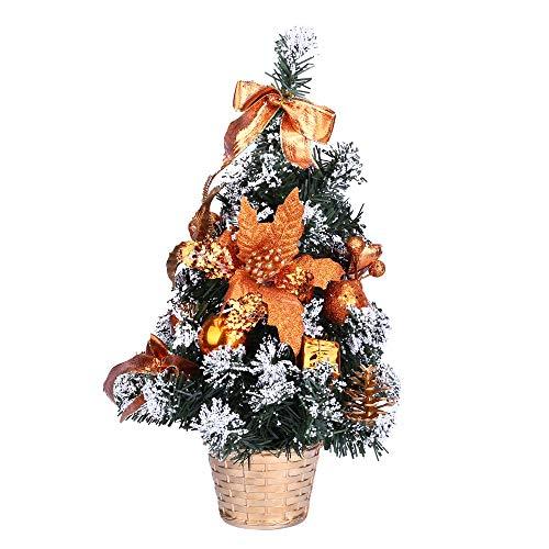Preisvergleich Produktbild Junjie Künstliche Tischplatte Mini Weihnachtsbaumschmuck Festival Weihnachtsschmuck Miniatur Baum 20cm Gold,  Rot,  Blau,  Silber (One Size,  Orange)