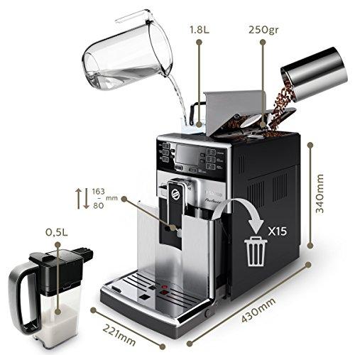 Saeco HD8927/01 PicoBaristo Kaffeevollautomat (1450 Watt, integriertes Milchsystem) edelstahl - 3