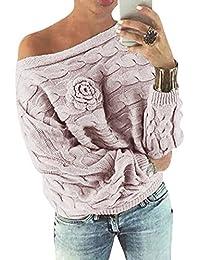 YOINS Schulterfrei Oberteile Damen Herbst Winter Off Shoulder Pullover Pulli für Damen Loose Fit mit Blumenmuster