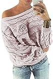 YOINS Schulterfrei Oberteile Damen Herbst Winter Off Shoulder Pullover Pulli für Damen Loose Fit mit Blumenmuster Rosa XS