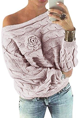 YOINS Schulterfrei Oberteile Damen Herbst Winter Off Shoulder Pullover Pulli für Damen Loose Fit mit Blumenmuster Rosa M (Plus Größe Winter Mantel Wolle)