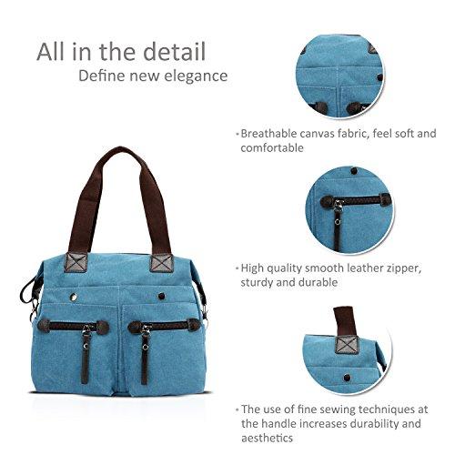 NICOLE&DORIS Vintage Frauen Handtaschen Umhängetasche Crossbody Tasche Reisetasche Tote Canvas Braun Blau