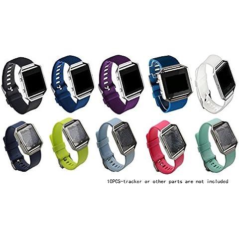 JOMOQ Fitbit Blaze - Pulsera inalámbrica de actividad, repuesto de correa de silicona con hebilla de seguridad, color Black, navy blue, purple, dark blue, sky blue, rosy red, white, green, blue, teal green