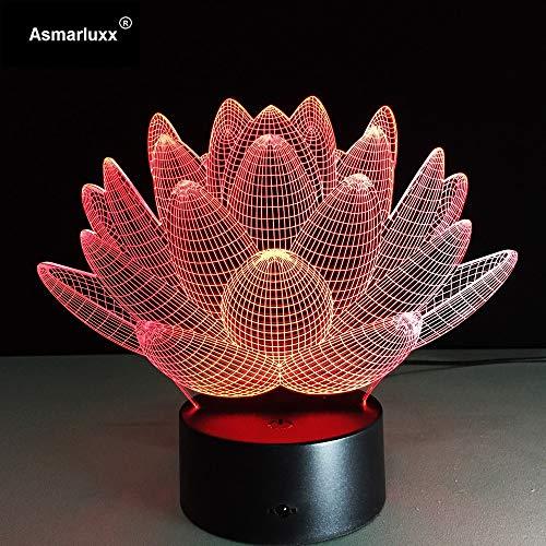 Lotus Flower 3D LED Nachtlicht Neuheit Bulbing USB Touch Schalter Tischlampe von Mesa 3D Vision Illusion AW-018