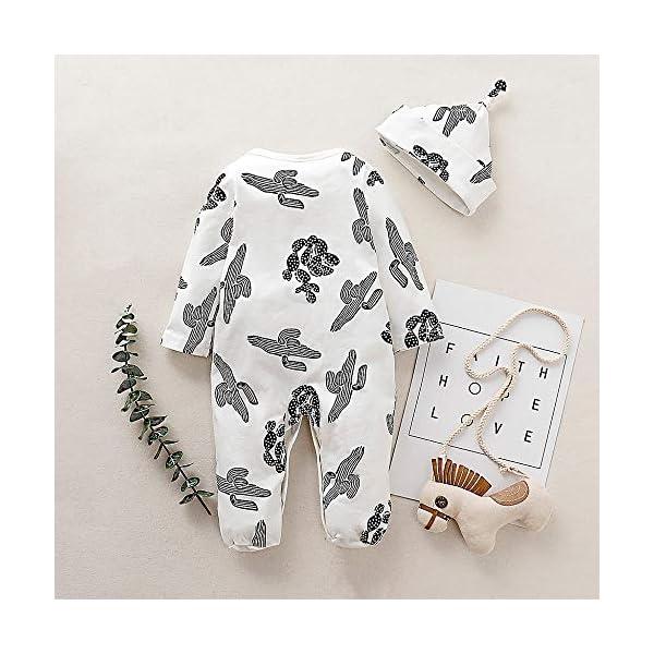 Conjuntos de Pijama+Sombrero recién Nacido bebé niño niña Mameluco de Manga Larga con Estampado Cactus Mono Primavera y… 3