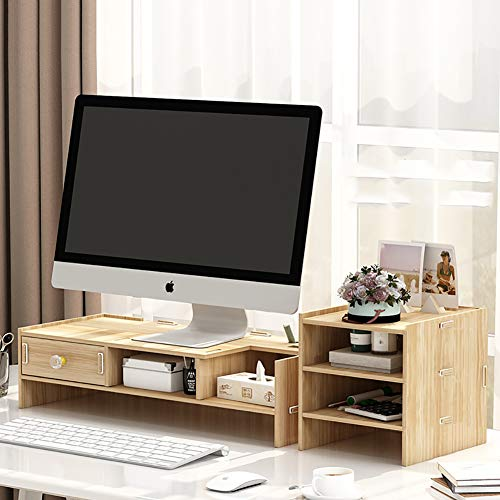 KKLTWU Holz Monitorständer Bildschirmstander Mit Stauraum, Platzsparende Verstellbarer 3 Dritte Desktop Organizer Für Drucker Büro Laptopständer-d 64x20cm(25x8inch) 80 Lb Arm