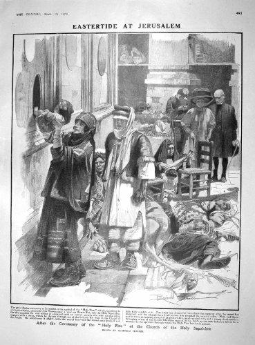 Heilige Kirchen-Heiliges Grab Jerusalem Pataud des Feuer-1909