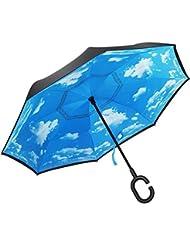 Reverse-Regenschirm aus Double Layer wasserabweisenden Material Taschenschirm der vor Regen Wind und UV-Strahlung schützt Innovativer C-Griff Stockschirme Reverse Schirme für Auto Erwachsene geeignet
